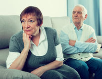 Elderly couple quarrel Stock Image