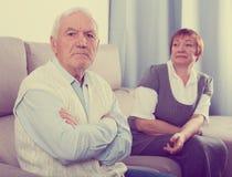 Elderly couple quarrel Stock Images