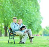 Elderly couple reading a book in park Stock Images
