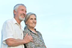 Elderly couple relaxing together Royalty Free Stock Images