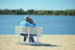 Elderly couple rest at tropical resort Stock Image
