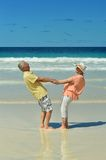 Elderly couple rest at tropical resort Royalty Free Stock Photo
