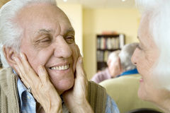 An elderly couple in a retirement home Stock Image