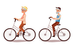 Elderly couple riding their bicycles Royalty Free Stock Photo