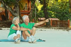 Elderly couple on sandy beach. Happy elderly couple sitting on sandy beach, men pointing somewhere Stock Images