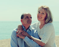 Elderly couple at sea shore Royalty Free Stock Photography
