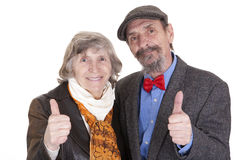 Elderly couple showing sign of approval Royalty Free Stock Photography