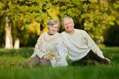 Elderly couple sitting in autumn nature Royalty Free Stock Photo
