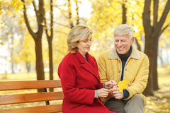 Elderly couple sitting on bench royalty free stock photos