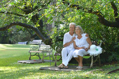 Elderly couple sitting on a bench outdoors Royalty Free Stock Photography