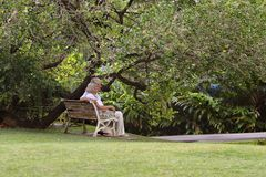 Elderly couple sitting on a bench outdoors Royalty Free Stock Images
