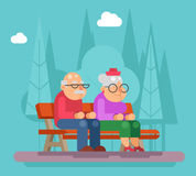 Elderly couple sitting on a bench in park promenade flat design vector illustration Royalty Free Stock Photo