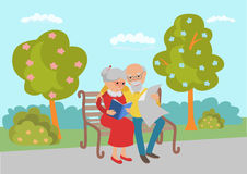 Elderly couple sitting on the park bench and read. Vector illustration in flat style. Stock Photography