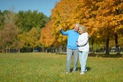 Elderly couple smiling together Stock Image