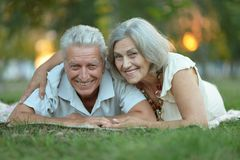 Elderly couple smilling together Royalty Free Stock Image