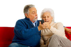 Elderly couple on the sofa Stock Image