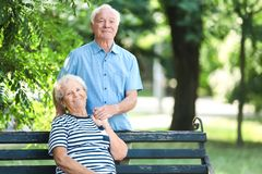 Elderly couple spending time together. In park royalty free stock photo
