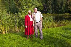 Elderly couple standing hand Stock Image