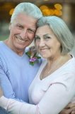 Elderly couple standing outdoors Royalty Free Stock Image