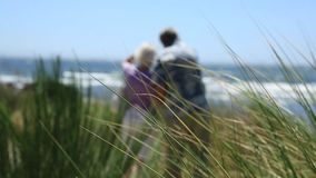 Elderly couple standing on sea shore. Senior couple admiring scenic ocean view, soft focus stock video footage