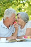 Elderly couple in summer Stock Photo