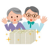 Elderly couple that surprised a lot of money Stock Photos