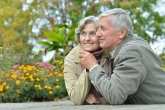 Elderly couple at table in forest Stock Photography