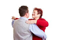 Elderly couple taking a dancing Stock Photo