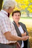 Elderly couple talking in park Stock Photo