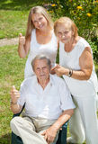 Elderly couple and their daughter Stock Image