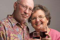 Elderly Couple Toasting Stock Photos