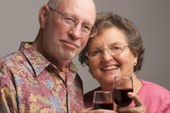 Elderly Couple Toasting. With Wine glasses stock photos