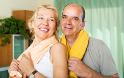 Elderly couple after training Royalty Free Stock Photos