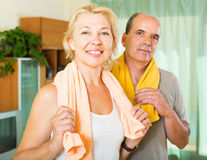 Elderly couple after training Stock Photo