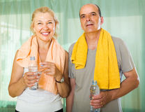 Elderly couple after training Royalty Free Stock Images