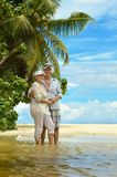 Elderly couple  at tropical beach Royalty Free Stock Photos