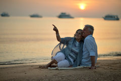 Elderly couple  at tropical beach Stock Photo