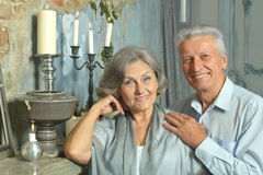 Elderly couple in vintage interior Royalty Free Stock Image