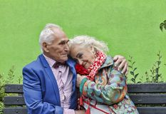 Concept love, Elderly couple, Hipsters. family, happy, together, royalty free stock photos