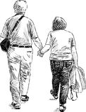Elderly couple at walk Royalty Free Stock Photography