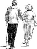 Elderly couple on a walk Stock Photo