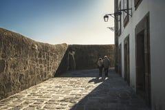An elderly couple walking stock photo