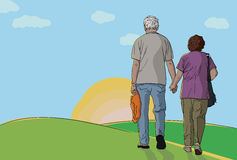 Elderly couple walking together Stock Photo