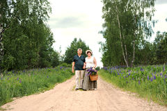 An elderly couple walks through the forest and a man gives a woman a woven basket with a bouquet of flowers of purple lupines stock photography