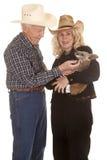 Elderly couple western kangaroo she look Stock Images