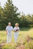 Elderly couple in the white linen dress walk in nature, in the hands of a bunch of flowers, smiles on their faces, and royalty free stock images