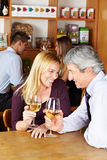 Elderly couple with wine in café Stock Photography