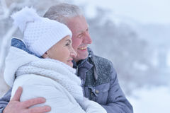 Elderly couple in winter Royalty Free Stock Images