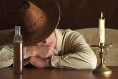 Elderly cowboy. Portrait of a nice mature man in cowboy hat stock photo