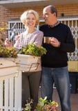 Elderly cuople talking at balcon Royalty Free Stock Photos